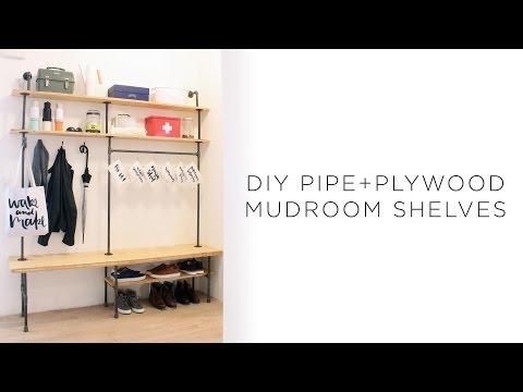 DIY Pipe Mudroom Shelves