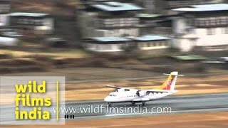 Tricky Druk Air take-off from Paro Airport in Bhutan