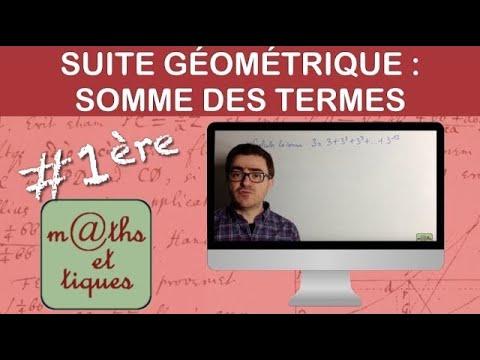 Calculer la somme des termes d'une suite géométrique - Première