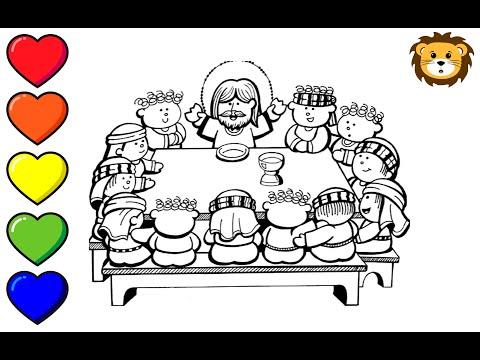 Como Dibujar A Jesus En La Ultima Cena Dibujos Para Niños Draw