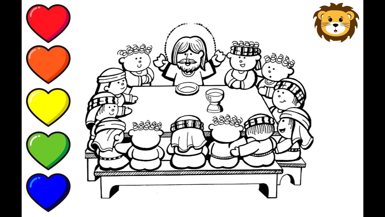 Como Dibujar A Jesus En La Ultima Cena Dibujos Para Niños Draw And Coloring Book For Kids