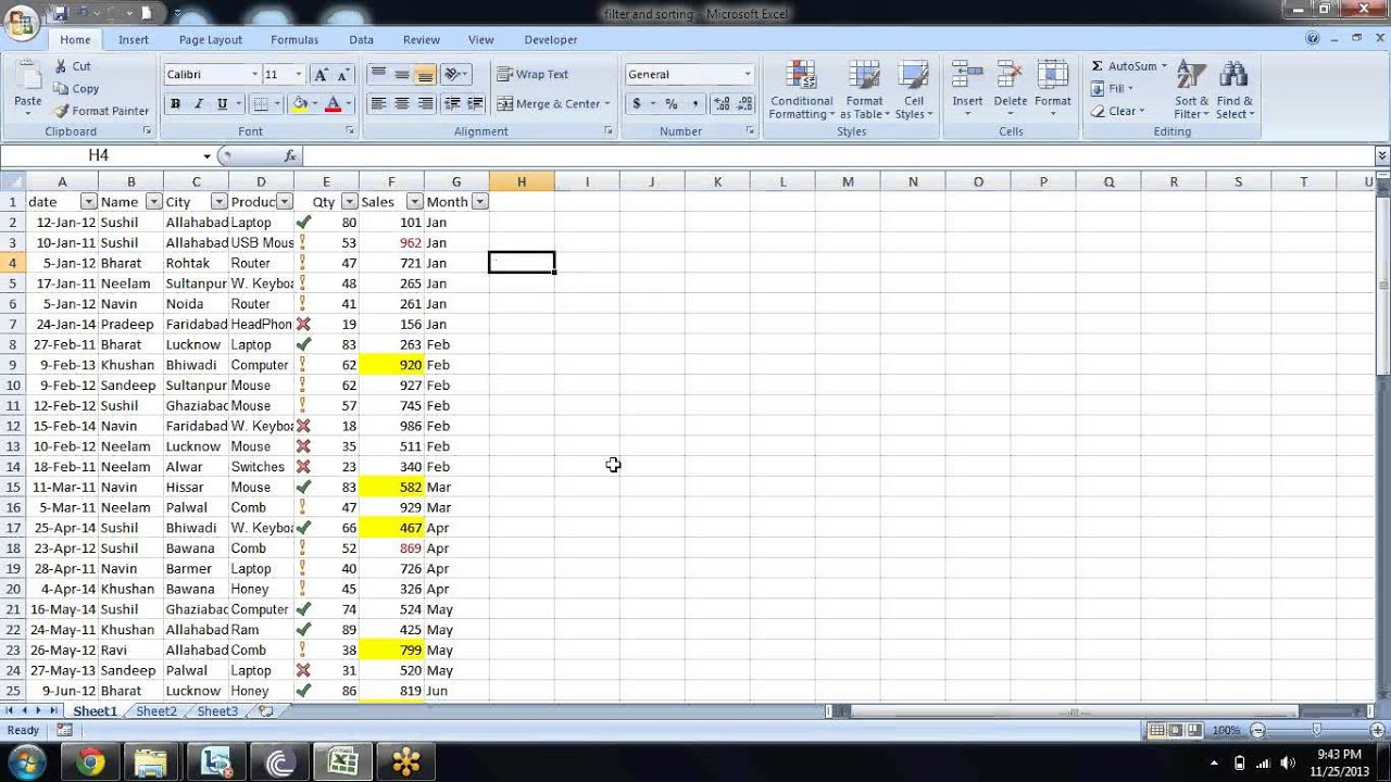 Microsoft Excel Sort And Filter Advanced