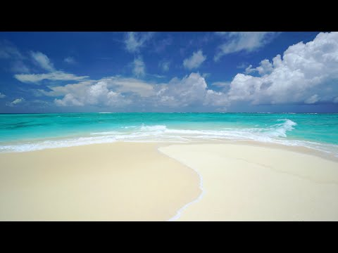 The Perfect Paradise Beach Scene in 4K: White Sand, Blue Water & Waves - Two Hours