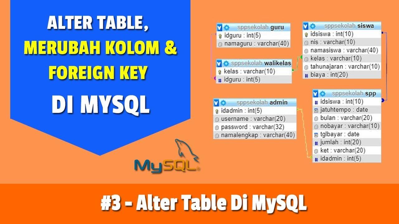 Part 3 membuat foreign key dengan alter table youtube - Alter table add foreign key ...