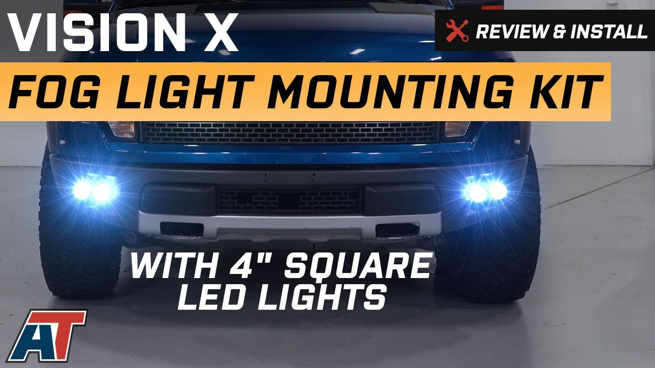 2010 2014 f150 vision x fog light mounting kit w 4 square led lights review install americantrucks ford [ 1280 x 720 Pixel ]