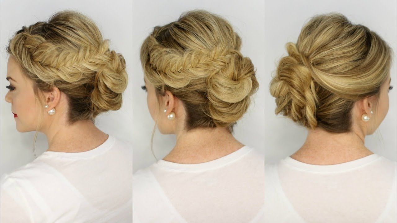 Inverted Fishtail Braid Updo Youtube