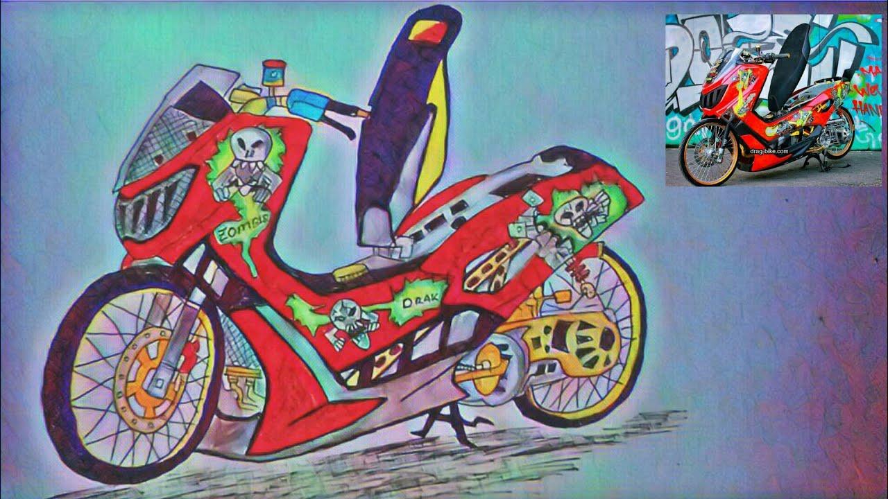 Mengambar Sepeda Motor NMAX Drag Jari Jari Ring 17