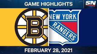 NHL Game Highlights | Bruins vs. Rangers - Feb. 28, 2021