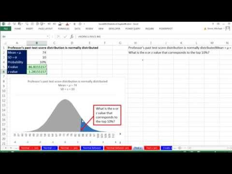 Excel 2013 Statistical Analysis #39: Probabilities for Normal (Bell) Probability Distribution