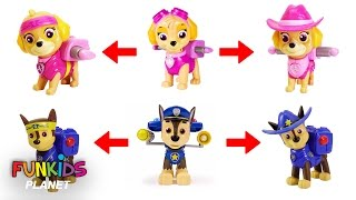 Learning Color Video for Kids: Paw Patrol Skye & Chase Turn into Cowboy Pups and Ninjas Pups