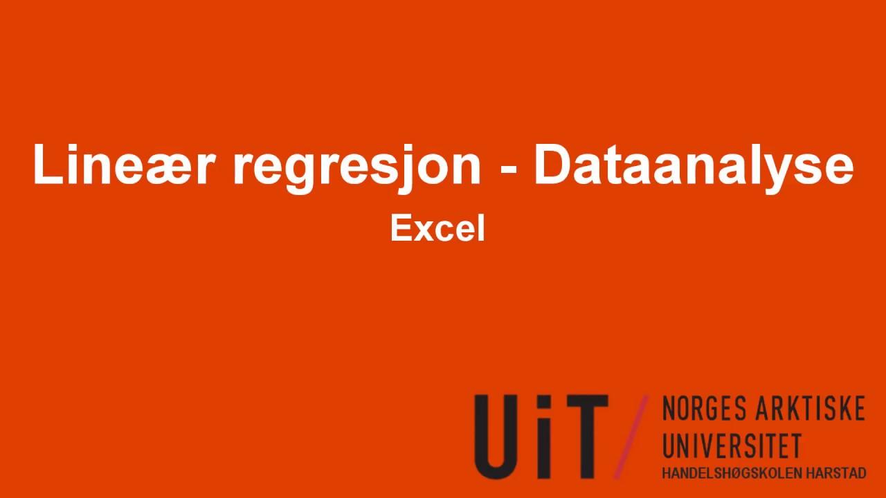 Excel - Lineær regresjon - Dataanalyse