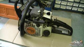HOW TO - Carburetor & Fuel Line Repair on STIHL 017, MS170, 018, M180 Chainsaw Part 1/3