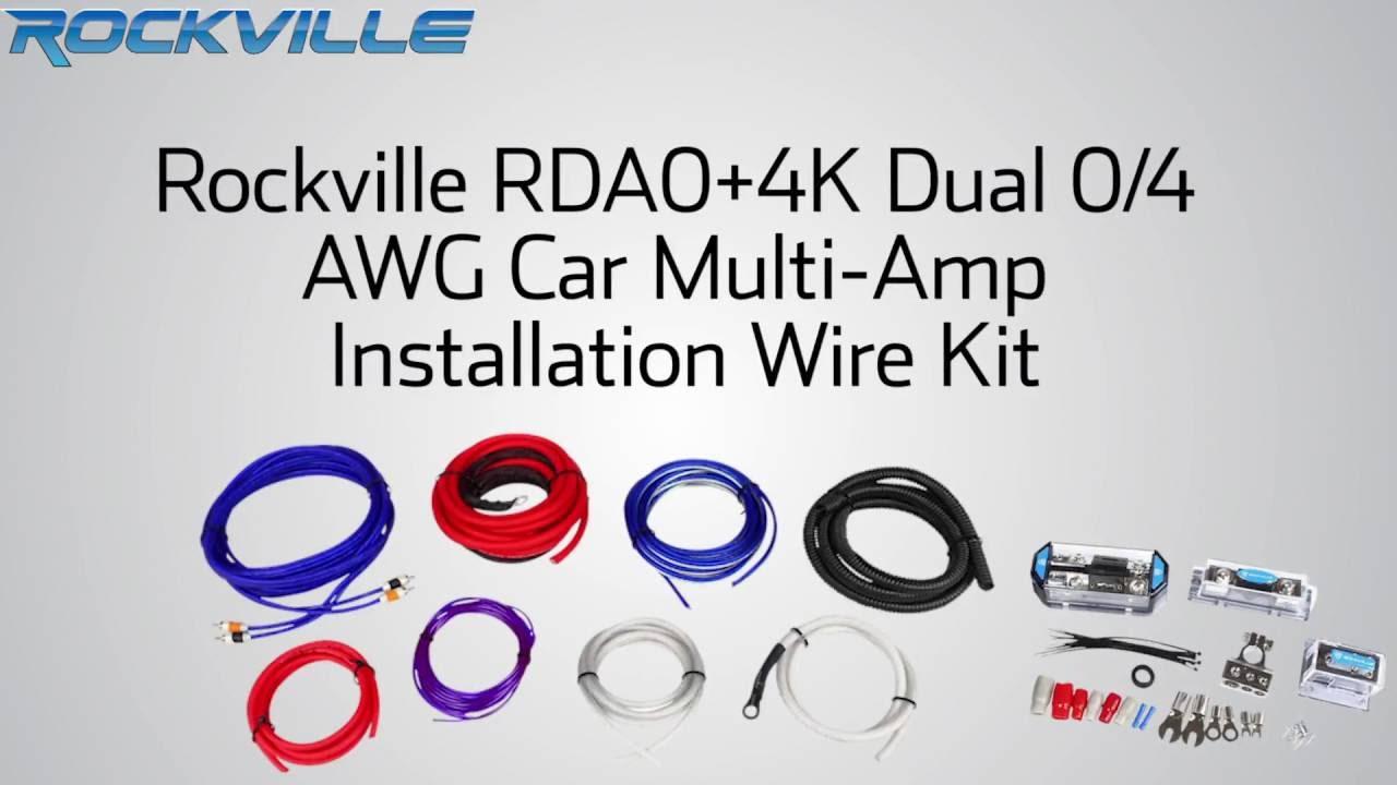 Rockville Rda0 4k 0 4 Gauge Dual Amplifier Installation Multiple Amp Awg Complete Wire Install Kit 4g Wiring Ebay