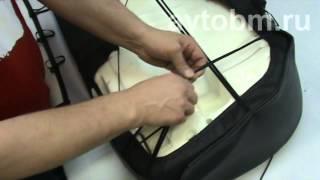 видео Чехлы Ниссан Альмера G15 (ЭКОкожа + перфорация) серые кирпичи