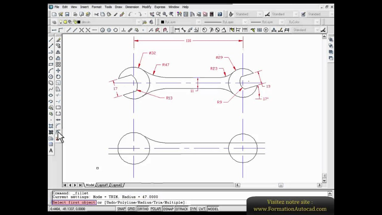 dessin piece m canique autocad formation d butant youtube. Black Bedroom Furniture Sets. Home Design Ideas