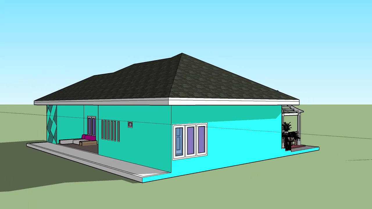 Desain Eksterior Rumah Sederhana Sketchup Youtube