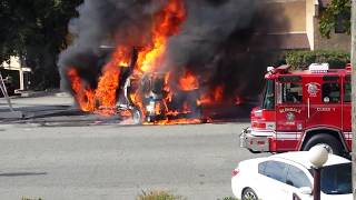 Trash Truck on fire in Montrose Ave. La Crescenta, CA sept 25, 2017 at 10.30am