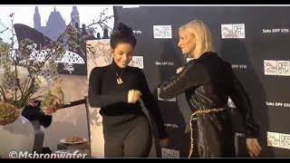 dansende  Monica Geuze & Noor de Groot Bij De Opening SAKS OFF 5TH Amsterdam