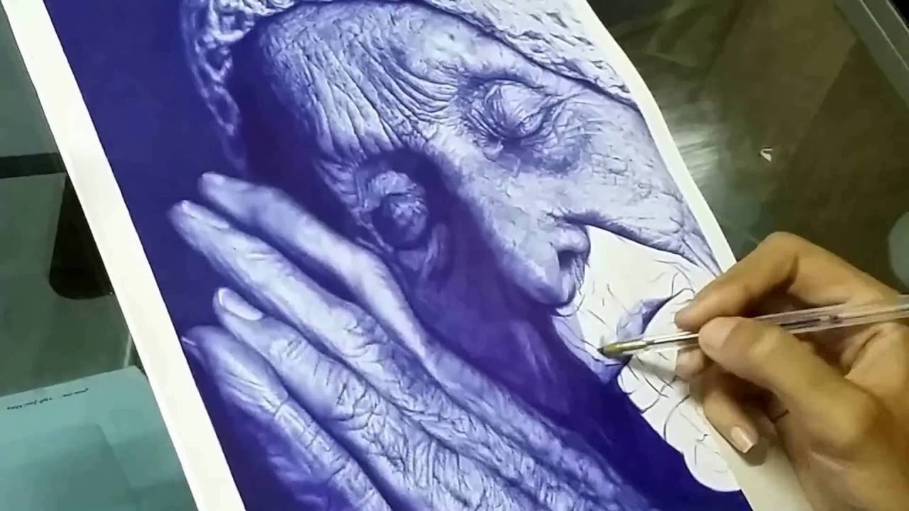 20 pieces of ballpoint pen art and photorealistic portraits