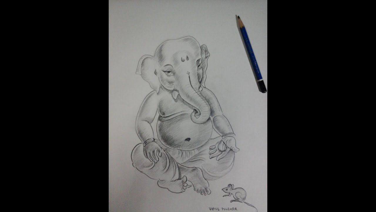 How to make ganesha bal ganesha sketch with pencil shading part 1 youtube