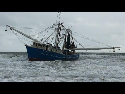 Ormond Beach Shrimp Boat on the Move, Briefly