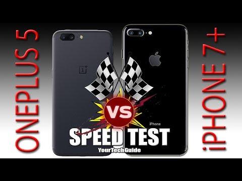 OnePlus 5 vs iPhone 7 Plus - Speed Test (Xiaomi Mi6, You