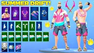 *NEW* SUMMER DRIFT SKIN Showcase with LEAKED Fortnite Emotes! (Fortnite Skin Review #1)
