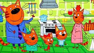 Три Кота - собираем пазлы для малышей ТРИ КОТА на Кухне - пазл из мультика 3 кота | Danik an Lesha