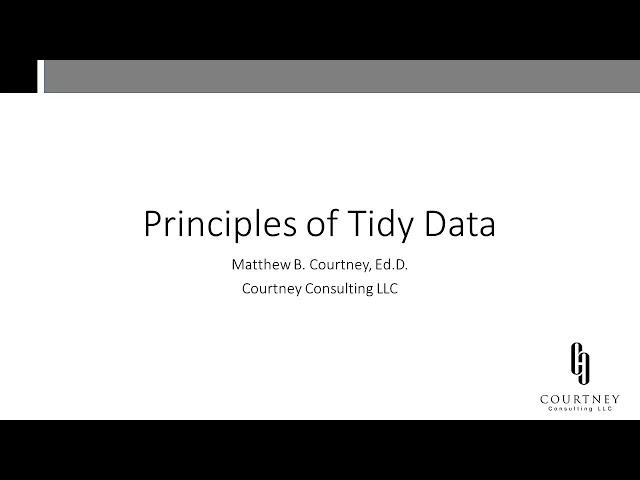 Principles of Tidy Data