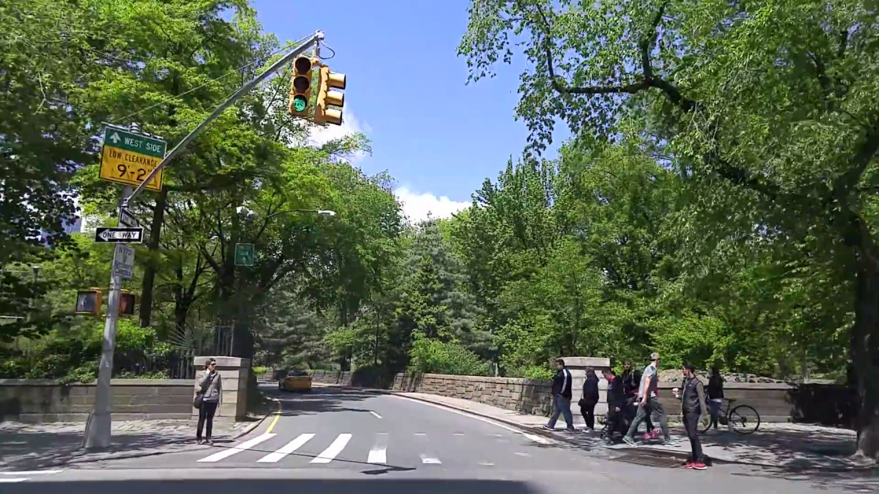 Driving Thru The Central Park From Upper East Side To