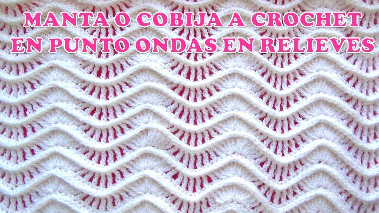 Manta o cobija a crochet paso a paso en punto ondas en - Mantas de crochet paso a paso ...