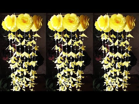 DIY. Wind Chime with Beautiful Paper Roses. Wall Hanging. Paper Craft. Декор для дома 15