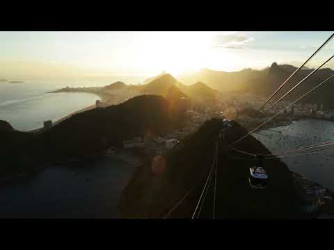 Cable car going down from Sugarloaf mountain in Rio de Janeiro