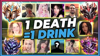 *1 DEATH IS 1 DRINK* MASSIVE 5V5 COLLAB WITH E-GIRLS (171 TOTAL KILLS!!!) - League of Legends