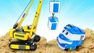 Мультики для детей про машинки. Роботы Поезда и железная дорога. Машинки и песочница
