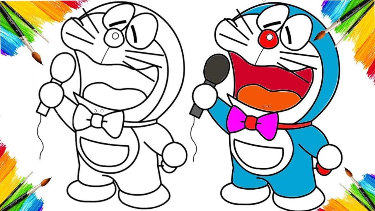 coloring book doraemon animation cartoon for children drawing and