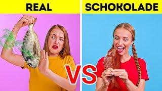 REALES VS SCHOKOLADE - DIE CHALLENGE | Lustige Streiche auf 123 GO! Challenge
