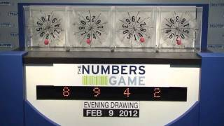 Evening Numbers Game Drawing: Thursday, February 9, 2012.