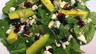 Салат со шпинатом, авокадо и сушеной ягодой  Пошаговый рецепт