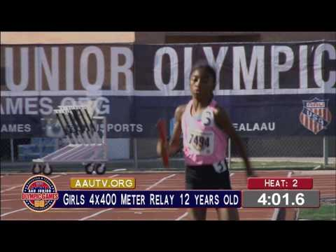 AAU Jr. Olympics 2016 - 4x400m Relay - 12 year old girl semi finals