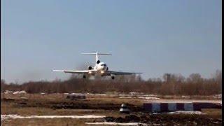 Посадка Ту-154м с супер коротким пробегом