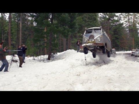 VW Bus Snow Jump - Lou Verrilli - Flying Pamper - Shasta Snow Trip 2013