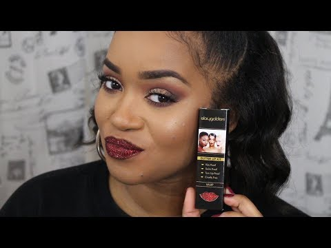 Stay Golden Cosmetics Glitter Lips + Review | Does it transfer? | Terria Lewis