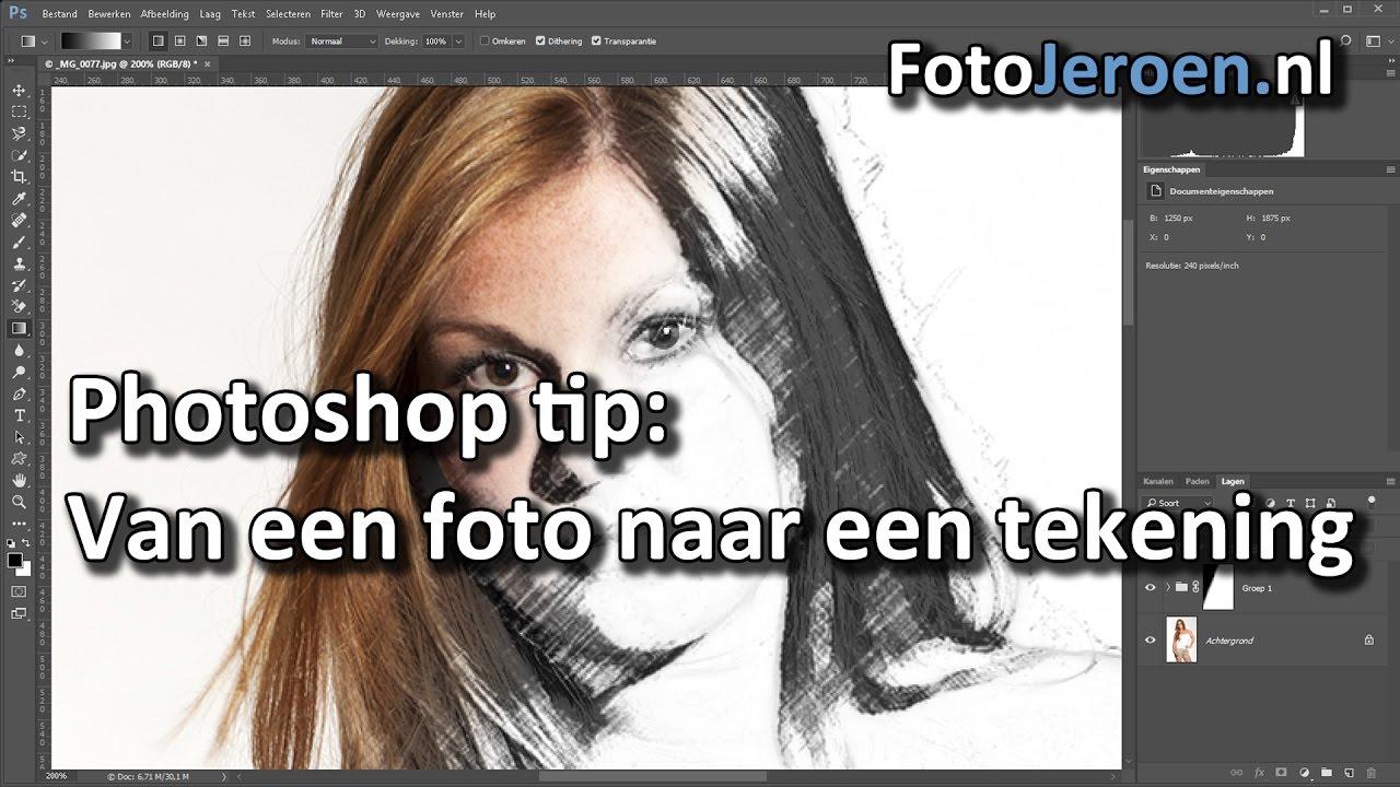 tekening maken een foto in photoshop