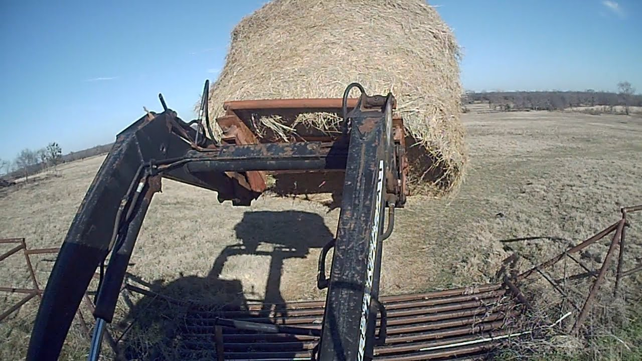 Feed Hay How We Feed Cattle In Winter Putting Out Hay With A Tractor East Texas