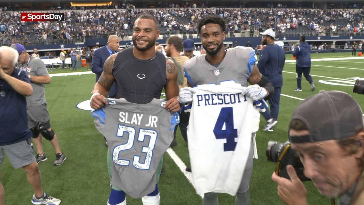 new styles 335b0 2a445 Dak Prescott, Darius Slay Jr. swap jerseys after Cowboys win
