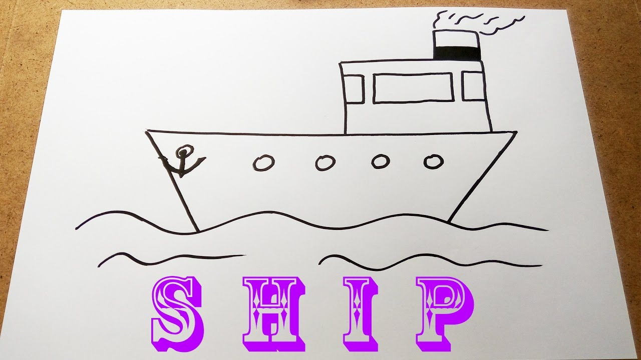 How To Draw A Ship Very Easy Youtube