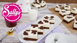 Kuhschnitte / einfacher Blechkuchen mit Milchcreme & Kuhflecken