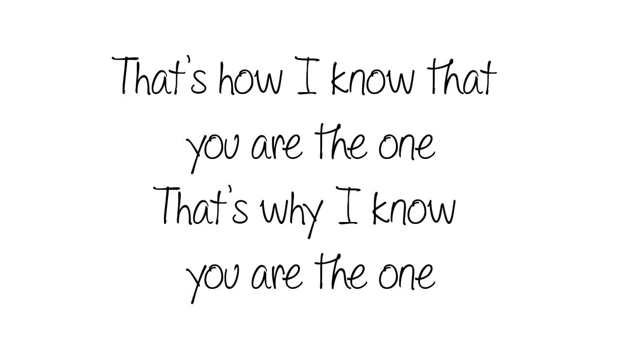 you are the one you are the one lyrics