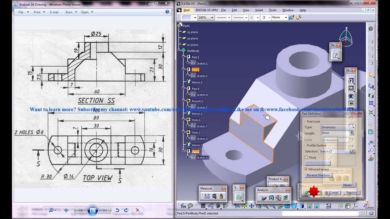 Catia V5 Tutorial How To Read Create 3d Models From 2d Drawings P3